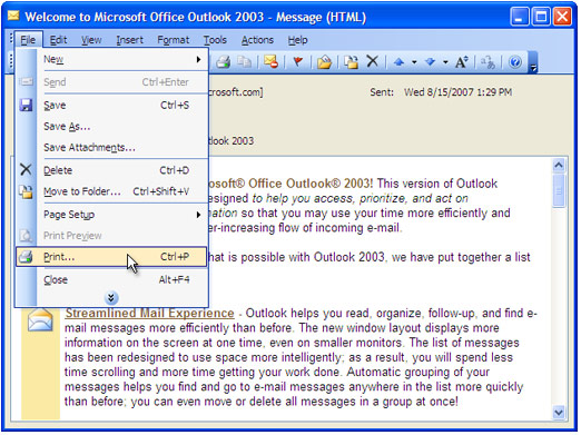 how to print email from outlook live
